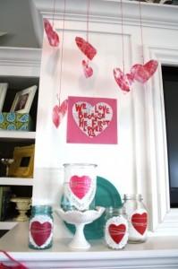 Doily Valentine's Day Mantel