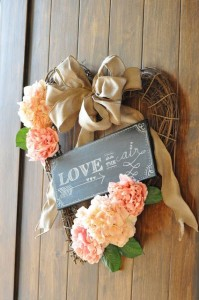 Wreath with chalkboard