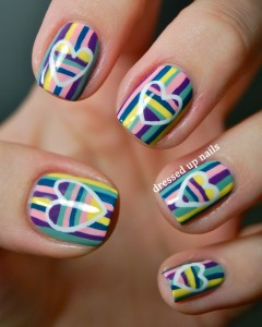 Dressed Up Nails – striped hearts on stripes Valentine nail art