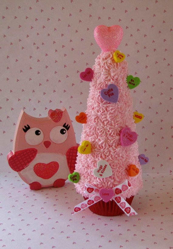 Valentines Day Home Decor Conversation Heart Fake Pink Cupcake