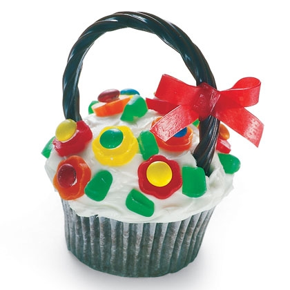 Flower Basket Cupcake These colorful and yummy flower baskets could become a sweet spring tradition for you and your family.