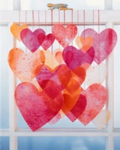 Let the sun shine through happy, translucent hearts. Visit here for inspiration to create this stained-glass look!