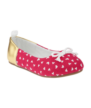 Two-Tone Heart Ballet Flats A festive pair of flats with a touch of bling at the heel will add sparkle to her spring wardrobe.