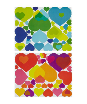 Overlapping Heart Decals Bedroom walls screaming for an update? For a look she's sure to fall in love with (even if it's only a winter fling), hang these colorful heart decals.