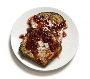 French Toast With Raspberry Syrup A classic brunch staple makes a playful finale to a romantic meal—especial when it's drizzled with raspberry syrup and dusted with confectioners' sugar.