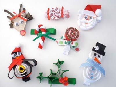 Christmas ribbon hair clips