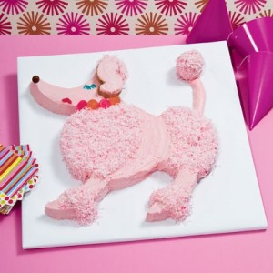 Pampered Poodle Cake Assembled entirely from two round cakes, this pink poodle is paws-itively perfect for posh parties of all kinds, including bashes with a spa, Hollywood, or Fifties flavor.