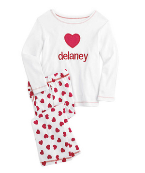 Personalized Happy Heart PJs Meet the season's slumber party essential: These cotton pajamas are soft on the skin, covered in hearts, and can be personalized with your best buddy's name (10 characters or less).