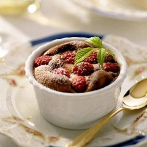 Chocolate-Raspberry Souffle  A cross between a cake and a souffle, these individual chocolate desserts make a fitting finale for any special dinner. Fresh raspberries add a burst of color and flavor.