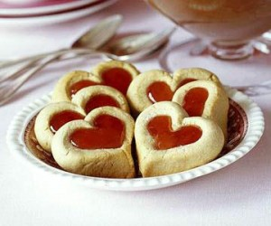 Double Thumbprint Cookies  Fill these pretty Double Thumbprint Cookies with cherry or raspberry preserves for a Valentine-special dessert.