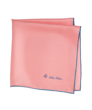 Silk Pocket Square A shot of pink to perk up a head-to-toe black or navy or gray uniform. The blue piping gives it a handsome twist.
