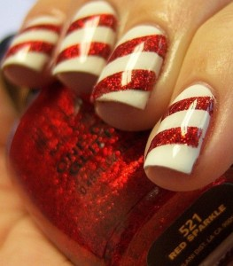White base red glitter line