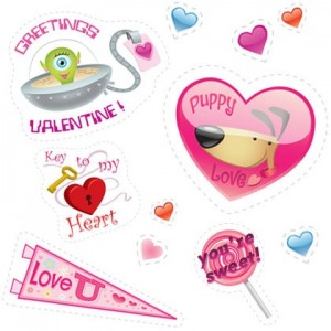 Valentine's Day Stickers Sweet and silly stickers to decorate goodie bags