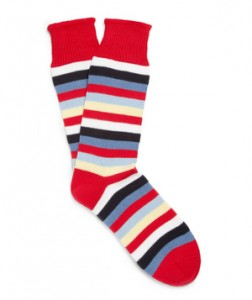 Striped Knitted Socks Classic navy suit gets an instant pick-me-up with a pair of colorful stripes.