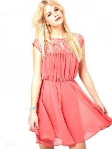 Skater Dress with Lace Insert
