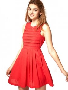 Summer Dress with Pleated Lace Bodice