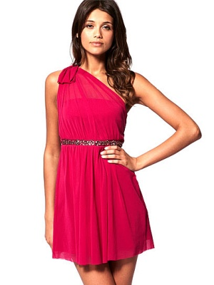 One Shoulder Dress with Embellished Waist